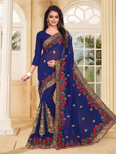 Buy Blue Colored Georgette Designl Online Shopping at Best Price on Variation. Huge range of Designer Sarees, Indian Wedding Saree, Party Wear Sarees and Latest Saree Designs.