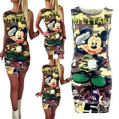 b61cddd373e5f Summer Women Dress Cute O-Neck Sleeveless Cartoon Print Camouflage Dress  Sexy Partyrricdress