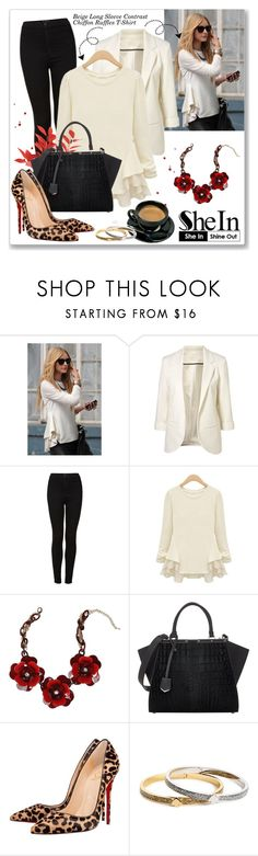 """Shein: Beige Long Sleeve Contrast Chiffon Ruffles T-Shirt"" by dressedbyrose ❤ liked on Polyvore featuring Bebe, Fendi, Christian Louboutin and Kate Spade"