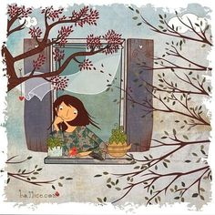 """Milinda Natu on Instagram: """"Found this terrific illustration on hallice.com  The artist builds up a wonderful mood of breezy Autumn🍃🍂☘️🐝 within a picture perfect…"""""""