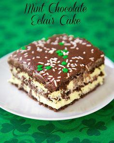 No-Bake Mint Chocolate Eclair Cake