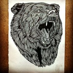 This is the Bear No.2 Original Artwork, Ink drawing, A4 on 220gsm // 110 lbs Smooth, Cartridge, Acid free Paper.