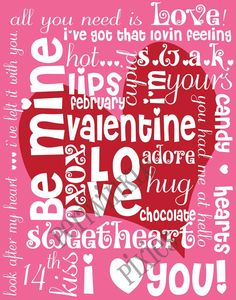 Printable 11x14 Valentine Subway Art. Also able to print any image smaller than 11x14 with perfect results!  Be Mine Valentine Subway Art Typography by RekrahCreative on Etsy