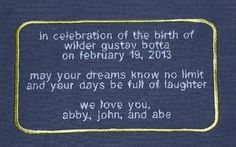 Embroidered Personalized Label for Baby Quilt by InspiredStitches, $20.00
