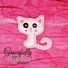 Lala Cat Feltie ITH Embroidery Design 4x4 hoop (and larger)