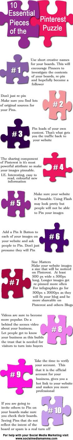 Here are my 10 Pinterest for Business pieces of the Social Media Marketing puzzle. www.socialmediamamma.com