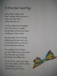 Preschool Poem--for end of year. I don't think I could read it without crying!: