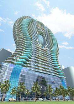 le Aquaria Grande Tower avec ses balcons-piscine, architecte James Law - Bombay, Inde.