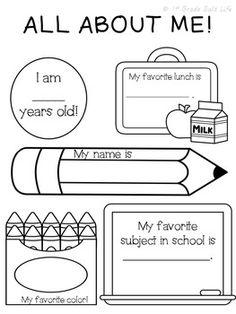 First day of school All About Me Preschool, Preschool Learning, Classroom Activities, School Pack, I School, School Reviews, First Day Of School Activities, 2nd Grade Teacher, Welcome Back To School