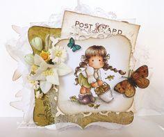 OOAK Magnolia Tilda with Sweetcorn card door janeslovelycards1c