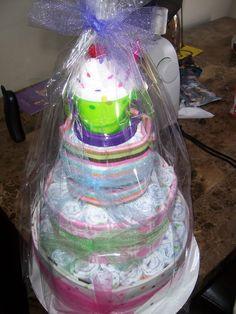 Diaper cake! Girl baby shower