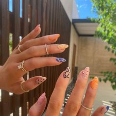 Edgy Nails, Funky Nails, Stylish Nails, Trendy Nails, Funky Nail Art, Cute Gel Nails, Colorful Nails, Stiletto Nails, Manicure For Short Nails