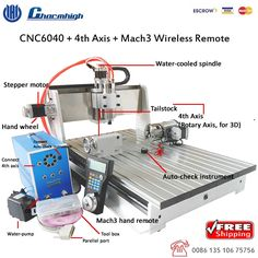 1880.00$  Buy here - http://alinpk.worldwells.pw/go.php?t=662515521 - Free shipping 4 Axis Desktop CNC 6040 + Mach3 Wireless hand Remote Four axis CNC engraving milling cutting machine CNC Router 1880.00$
