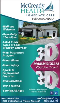 McCready Health Immediate Care in Princess Anne, MD is ready for any and all of your minor illness & injury needs. They aren't just an immediate care center, they also have a 3D MAMMOGRAM MACHINE when it's that time of year ladies.  Open Daily from 10am-9pm with lab and x-ray, no appointments needed and insurance accepted. Next to Food Lion in Princess Anne, MD.  www.Mccreadyhealth.org ; www.frugals.biz