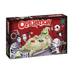 Fans of <i>Tim Burton's The Nightmare Before Christmas</i> will enjoy a healthy amount of fun with this Collector's Edition of the classic Operation game. Test your surgical skills as you remove custom Funatomy parts from Oogie Boogie, the patient. Disney Halloween, Halloween Look, Halloween Makeup, Christmas Board Games, Christmas Party Games, Christmas Gifts, Nightmare Before Christmas, Disney Party Games, Head In A Jar