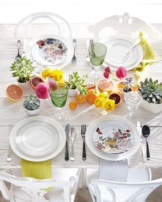 Colourful table setting