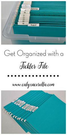Get Organized with a Tickler File - Calyx & Corolla Are you tired of having project piles and to-do's strewn across your desk and home office? Are yo Diy Organisation, Office Organization At Work, Organizing Paperwork, Clutter Organization, Business Organization, Paper Organization, Organizing Your Home, Receipt Organization, Organized Office