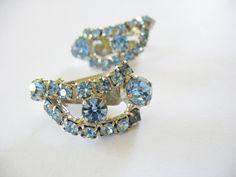 Blue Rhinestone Earrings Teardrop 1950's clip on by gussiegurl on Etsy
