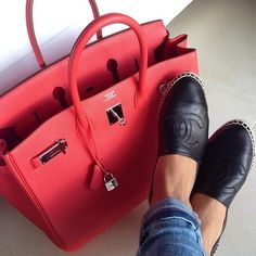 Hermes coral bag with chanel shoes