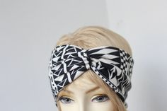 Very Cute Turbans Headband  black and ivory color   print   great accessory for your outfit. $8.95, via Etsy.
