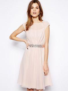 Pink Short Sleeve Zipper Chiffon Dress