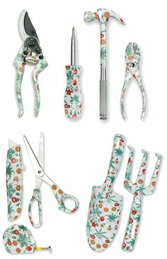 Those are a series of gardening tools sold by the UK's V Museum, each covered in a William Morris print from 1864. Any idea how they got the pattern onto the steel tools?