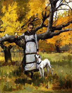Theodore Robinson, Young Girl with Dog on ArtStack #theodore-robinson #art