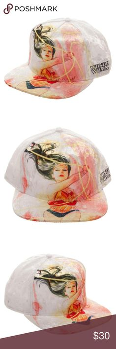 "Wonder Woman DC Comics Snapback Hat Velvet Lasso This is for 1 DC Comics themed snapback flatbill adjustable hat.   This hat features Wonder Woman swinging around the Lasso of Truth.  To the side it reads ""Wonder Woman"".    Theme:  DC Comics - Officially Licensed Pattern: Wonder Woman Style: Snapback Hat  Size:  Adult - Adjustable - One Size Fits Most Color: White Material: Velvet Brand: Bioworld  CONDITION - New  Perfect for any Wonder Woman fan!  Makes a great gift!   Check my Posh for…"
