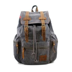 Amazon.com: GEARONIC TM Men's Outdoor Sport Vintage Canvas Military BackBag Shoulder Travel Hiking Camping School Bag Backpack - Gray: Shoes