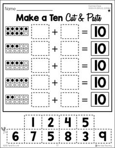 Get your kinesthetic Kindergartners, Graders, and Graders moving with these Differentiated Make a Ten Cut & Paste Worksheets. These Differentiated Make a Ten Cut & Paste Worksheets use Ten Frames to help students identify the missing addend. Math Worksheets, Math Resources, Math Activities, Addition Worksheets, Math Games, Math Addition, Repeated Addition, Second Grade Math, Math Workshop