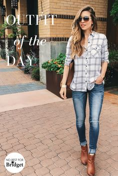 A plaid shirt and jeans is always a good idea. Style blogger, Nichole Ciotti puts together a laid-back look perfect for a day on the town with our No Rest for Bridget low rise slit knee skinny jeans and our black and white button up shirt. Visit our store to discover more casual, comfortable and stylish looks.