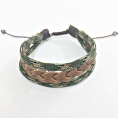 Pulseira Masculina Corda Militar Couro Trançado mens bracelets fashion style cocar brasil