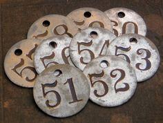 numbered metal tags
