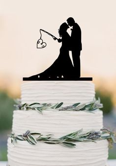 Custom wedding cake topper,Hooked on Love, personalized topper,fishing – DokkiDesign