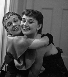 Audrey Hepburn and Anita Loos photographed by Milton H. Greene after a performance of Gigi in New York, 1952.