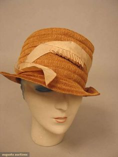 "straw w/ round flat top crown, cream silk gros grain ribbon, ""Gage Brothers & Co"" label, augusta-auction.com"