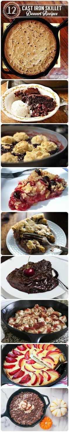 12 Cast Iron Skillet Dessert Recipe | Best Desserts and Recipes for Sweets | Pioneer Settler | Easy Dessert Ideas for the Best Desserts in the World By Pioneer Settler.