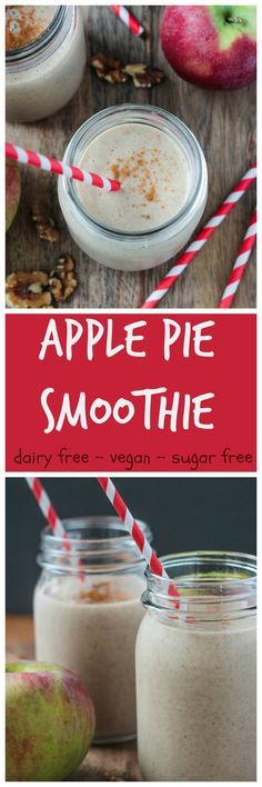 Apple Pie Smoothie - the perfect dairy free fall refresher! #vegan #dairyfree #glutenfree #sugarfree #smoothie