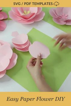 "Learn how to make this pretty rose paper flower along with other 4 different flowers inside ""Paper Flower Backdrop DIY Kit"" from FancyBloom. It's so easy to make, but it looks so lovely and cute. Video tutorial and svg / pdf templates included! #paperrose #paperroses #paperflowertutorial #paperflowertemplates #diypaperflower How To Make Paper Flowers, Large Paper Flowers, Tissue Paper Flowers, Diy Flowers, Paper Dahlia, Paper Peonies, Paper Roses, Paper Flower Decor, Paper Flower Backdrop"