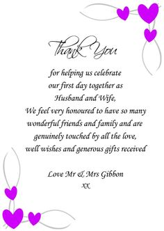 Thank You Card Messages Wedding