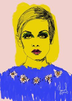 This is a collection of portraits of female figures that marked an era Hanging Art, Fashion Sketches, Artsy Fartsy, Illustration Art, Illustrations, All The Colors, Comic Art, Twiggy Style, Female