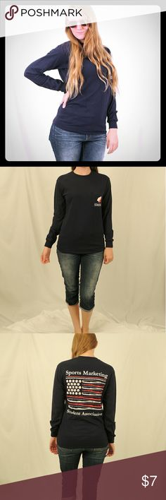 Cotton long sleeve t shirt Navy blue, non smoking home, Red White and blue theme, can fit a medium size Gildan Tops Tees - Long Sleeve