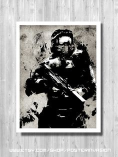 Hey, I found this really awesome Etsy listing at https://www.etsy.com/listing/198787546/master-chief-print-inspired-by-halo