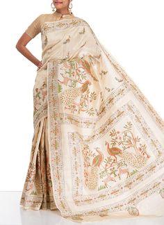 Charming Kantha Work Tussar Silk Saree