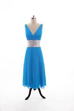 V-neck A-line floor-length chiffon bridesmaid dress