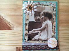 Handmade Greetings Card - Vintage Photo - Musical Theme - Romantic Design - Birthday Card - Rustic Style - by SarahsCardShop on Etsy