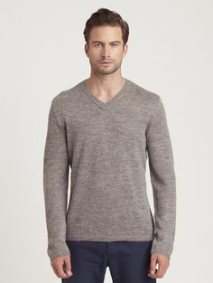 INHABIT Mens Alpaca / Linen V-Neck - Titanium