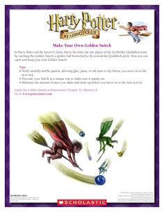 MAKE YOUR OWN GOLDEN SNITCH: Create your very own Golden Snitch in this craft! Download by clicking the image above! For more activities visit www.scholastic.com/hpreadingclub #HarryPotter #HPread