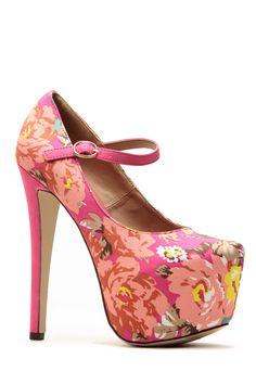 0a2f75ed90c6 Glaze Hot Pink Floral Almond Toe Mary Jane Platform Pumps   Cicihot Heel  Shoes online store sales Stiletto Heel Shoes