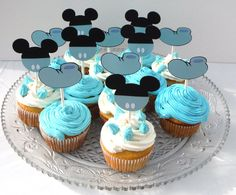 12 Baby Mickey Mouse Themed Cupcake Toppers by ScrapsToRemember